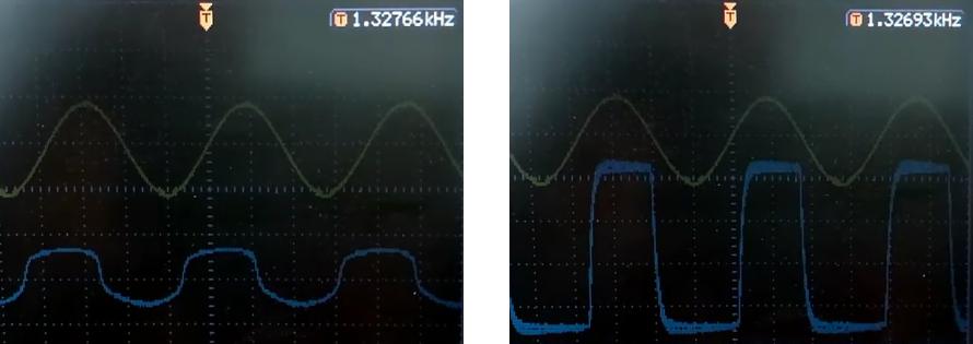 oscylogramy z wyjścia fuzza pedału gitarowego - przester
